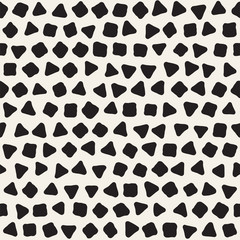 Hand drawn black and white ink abstract seamless pattern. Vector stylish grunge texture. Geometric scattered shapes paint brush lines