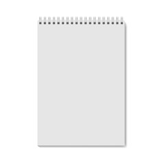 Realistic notebook template. Vector notepad mock up. Blanc vertical notebook with metallic spiral. Realistic copybook clean page with shadow on spiral binder. AI10