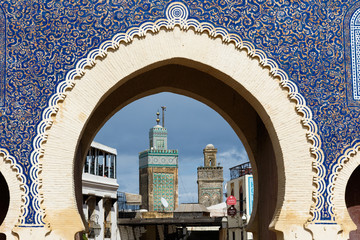 Bab Bou Jeloud gate (or Blue Gate) in Fes el Bali medina, Morocco