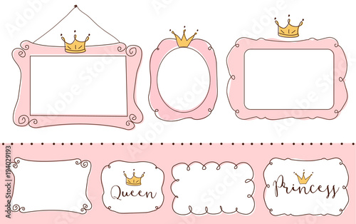 Set Of Cute Doodle Mirrors Princess Vector Element Design Pink Frames With Crown