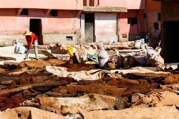 Marrakesh, Morocco. Tannery and animal skins or leather lie on the ground in the medina