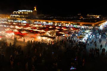 Sunset nicht market in Marrakesh, Morocco