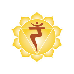 manipura chakra icon symbol esoteric yoga indian buddhism hinduism vector