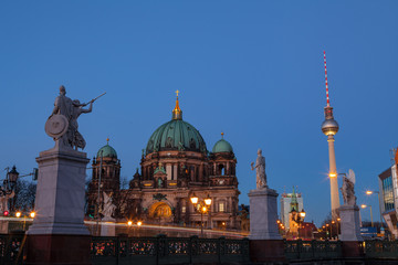 BERLIN, GERMANY - FEBRUARY 22, 2017: Beautiful view of historic Berlin Cathedral (Berliner Dom) at...