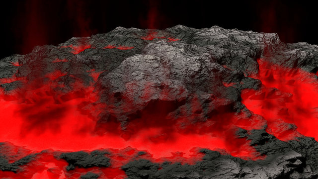 lava field and glossy rocky land