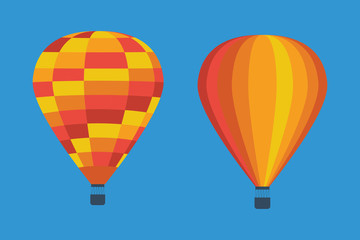 Hot air balloon set in flat design. Colorful hot air baloon flat icon.