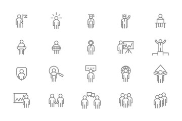 Set of vector human resources and business organization management line icons. Teamwork, presentation, customer support, b2b, search employees, SEO, company security, success and more.