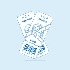 Two cinema ticket with blue lines isolated on light background. Flat vector illustration EPS 10