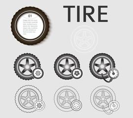 tyres set design elements color style icons fonts
