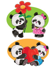 Printed roller blinds Ladybugs Vector cartoon set with a couple of panda bears in love, with soft red heart and with flower isolated on background. Cute animal characters, clipart for greeting cards, stickers, prints for t-shirt