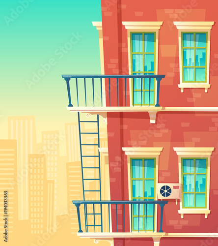 Vector Cartoon Illustration Of House Facade Element, Multistoried Building,  City Apartments, Outside View