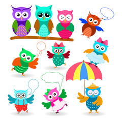 Funny cartoon owls set in different poses and emotions. Ows with speech bubble.