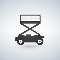 Scissors lift icon on white background, vector illustration.