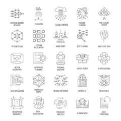 Neural network outline icons set. Vector illustration with neural networks, nano robot, artificial intelligence. Objects for AI design and web