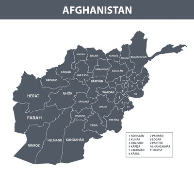 Afghanistan map with administrative devision on regions
