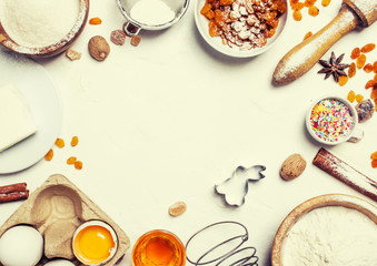 Easter baking ingredients, white food background, top view