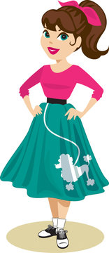 Pretty girl with ponytail and spit curl, wearing 1950s outfit of blue poodle skirt, pink hair scarf, and saddle shoes with bobby socks