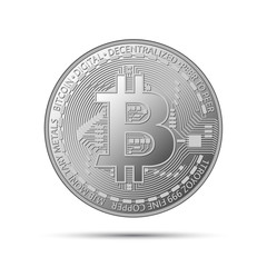 Silver bitcoin coin, crypto currency silver symbol isolated on grey background, realistic vector illustration for your infographic, page, leaflet, blockchain technology