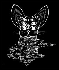 An illustration of a psychodelic cat. Black and white drawing of a cat. Chalk on a black oard.
