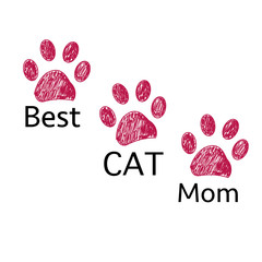 Doodle Paw print. ''Best cat mom'' text. Happy Mother's Day greeting card