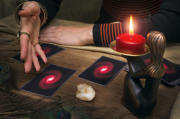 Tarot cards and fortune teller. Future reading concept.