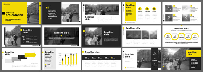 Obraz Yellow presentation templates elements on a white background. Vector infographics. Use in Presentation, flyer and leaflet, corporate report, marketing, advertising, annual report, banner. - fototapety do salonu