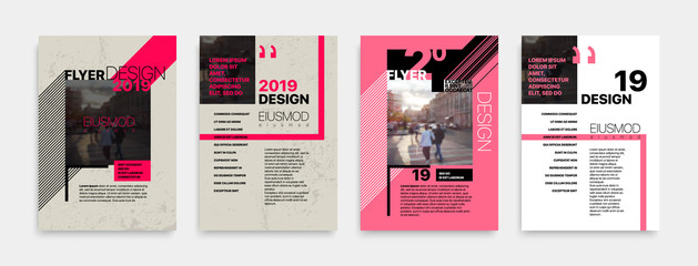Covers templates set with bauhaus style graphic geometric elements. Applicable for flyer, cover annual report, placards, brochures, posters, banners. Vector illustrations. Wall mural