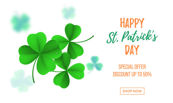 Happy Saint Patrick's day sale banner with shamrock clover on white background. Vector St Patrick sale lettering for Feast of Saint Patrick festival poster day on 17 March. Irich holiday greeting card