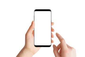 Isolated hands and smartphone on white background. Female hand holding modern black phone in vertical position. Wall mural