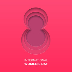 8 March papercut illustration for International Women's Day card. Happy Womens Day vector paper cut out number Eight on pink red background. Trendy 3D mothers day greeting card template