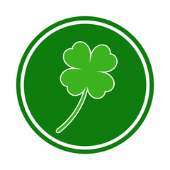 clover leaf in green circle on white background