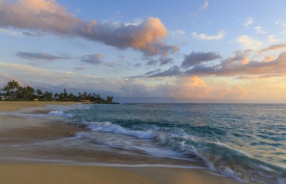 Sunset at Makaha Beach, Maui, Hawaii