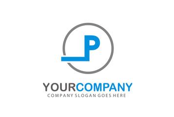 Circle Logo Letter P Vector Design