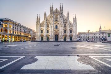 Sunrise in Piazza del Duomo in Milan, Italy. December 2017.
