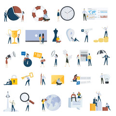 Flat design people concept icons isolated on white.  Set of vector illustrations for business, marketing, startup.