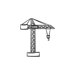 Construction crane hand drawn outline doodle icon. Heavy industry vector sketch illustration with construction crane for print, web, mobile and infographics isolated on white background.