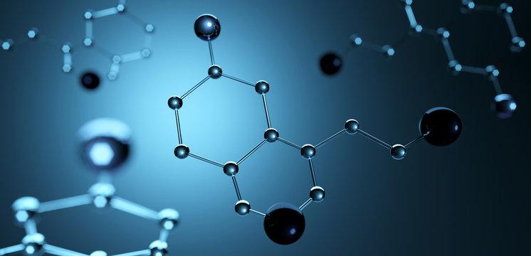3d illustration. Model of serotonin molecule, Hormone of Happiness.