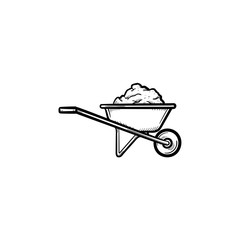 Building barrow full of sand hand drawn outline doodle icon. Wheelbarrow full of sand vector sketch illustration for print, web, mobile and infographics isolated on white background. Building concept.