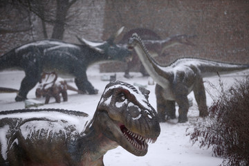 Dinosaur park is seen affected by freezing weather and snowfall in Belgrade