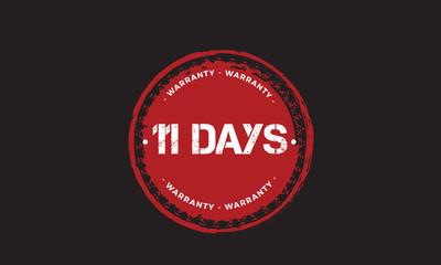 11 days warranty icon vintage rubber stamp guarantee