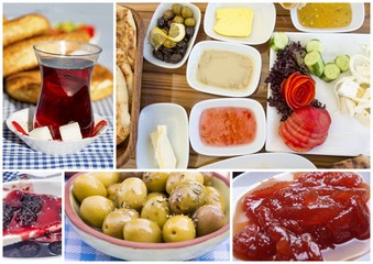 Turkish breakfast collage