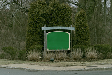 Community entrance sign in USA. Mock-up for address