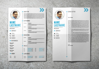Resume and Cover Letter Layout Set With Blue Accents 1