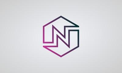 N letter logo vector, linear hexagon design..