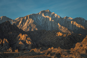 Panorama of Glowing Lone Pine Peak Sunrise, Alabama Hills, Lone Pine, California