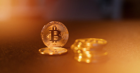 Bitcoin BTC XBT digital crypto currency coins concept