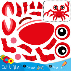 Red smiling crab with a claw raised up.. Education paper game for preshool children. Vector illustration.