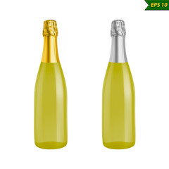 Bottle of champagne with and without label. Vector Illustration isolated on white background