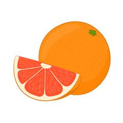 Fresh grapefruit on white background