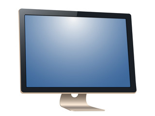 Computer monitor, with a blank screen, isolated on white background. To represent your application.